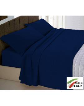 Completo Lenzuola Letto Matrimoniale Made In Italy Puro Cotone Blu
