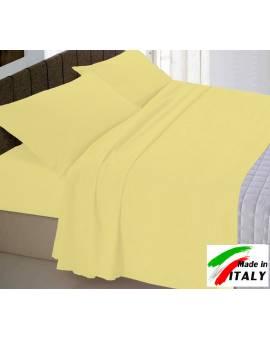 Completo Lenzuola Letto Matrimoniale Made in Italy Puro Cotone GIALLO