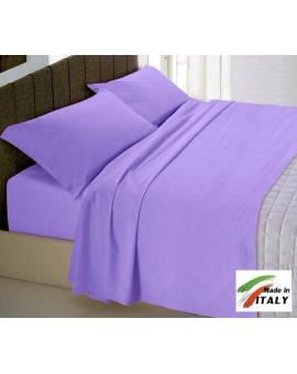 Completo Lenzuola Letto Matrimoniale Made in Italy Puro Cotone LILLA