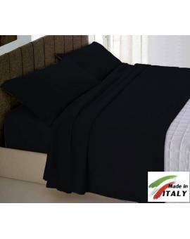 Completo Lenzuola Letto Matrimoniale Made In Italy Puro Cotone Nero
