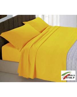 Completo Lenzuola Letto Matrimoniale Made in Italy Puro Cotone OCRA