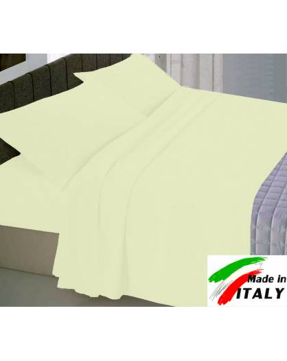Completo Lenzuola Letto Matrimoniale Made in Italy Puro Cotone PANNA