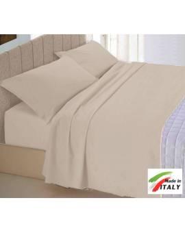 Completo Lenzuola Letto Matrimoniale Made In Italy Puro Cotone Tortora