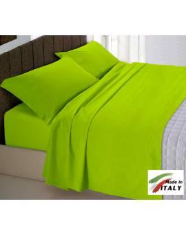 Completo Lenzuola Letto Matrimoniale Made In Italy Puro Cotone Verde A