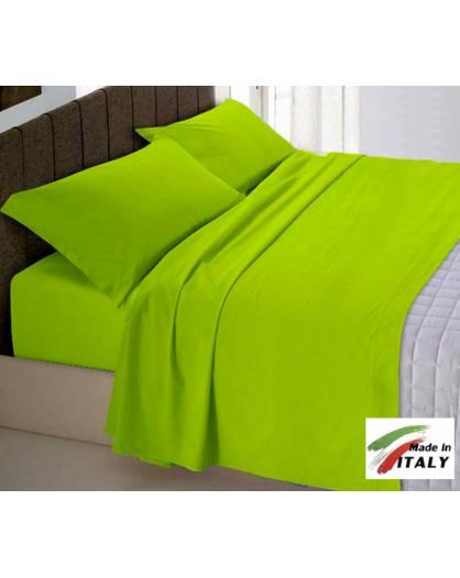 Completi Lenzuola Matrimoniali Tinta Unita.Completo Lenzuola Made In Italy 100 Cotone Tinta Unita Verde Acido