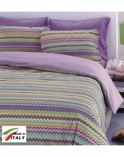 01e8cd88ed Completo Lenzuola Letto Matrimoniale Made in Italy Puro Cotone BAIA-LILLA