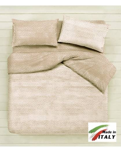 Lenzuola Matrimoniali Beige.Completo Lenzuola Made In Italy 100 Cotone Fantasia Bon Bon Beige