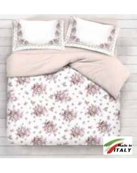Completo Lenzuola Letto Matrimoniale Made in Italy Puro Cotone BOUQUET-BEIGE