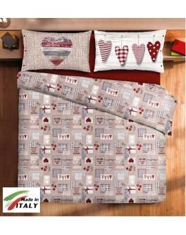 Completo Lenzuola Letto Matrimoniale Made in Italy Puro Cotone CORTINA