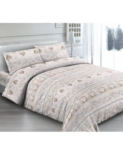 Completo Lenzuola Made in Italy 100% cotone Fantasia LOVE-BEIGE