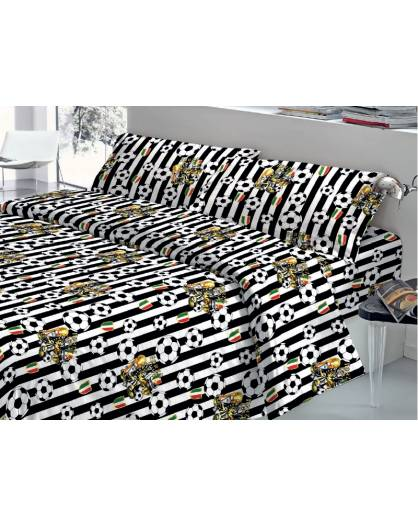 Completo Lenzuola Letto Matrimoniale Made in Italy Puro Cotone JUVENTUS