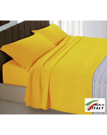 Sacco Copripiumino Matrimoniale Cotone.Parure Copripiumino Made In Italy 100 Cotone Tinta Unita Ocra