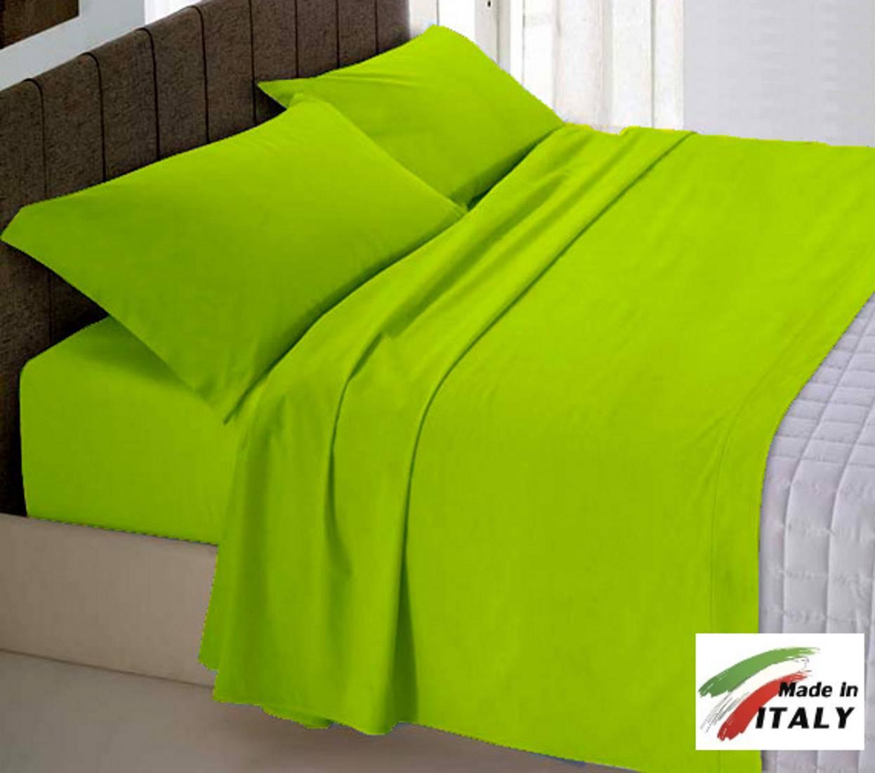 Copripiumino Verde Acido.Parure Copripiumino Made In Italy 100 Cotone Tinta Unita Verde Acido