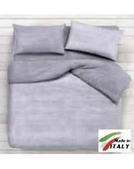 Parure Sacco Copripiumino Matrimoniale Made in Italy Percalle di Cotone BON-BON-GRIGIO