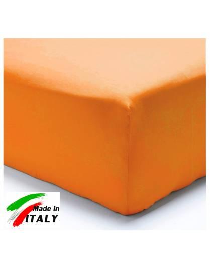 Lenzuolo Angolo con Elastici Matrimoniale Maxi Prodotto In Italia Percalle di Cotone ARANCIO