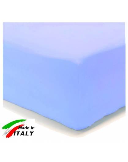 Lenzuolo Angolo con Elastici Matrimoniale Maxi Prodotto In Italia Percalle di Cotone AZZURRO