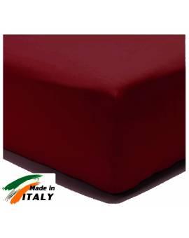 Lenzuolo Angolo con Elastici Matrimoniale Maxi Prodotto In Italia Percalle di Cotone BORDEAUX