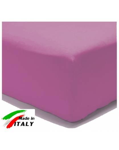 Lenzuolo Angolo con Elastici Matrimoniale Maxi Prodotto In Italia Percalle di Cotone CICLAMINO