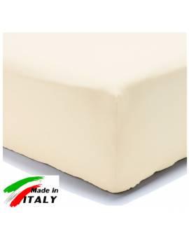 Lenzuolo Angolo con Elastici Matrimoniale Maxi Prodotto In Italia Percalle di Cotone PANNA