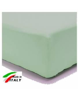 Lenzuolo Angolo con Elastici Matrimoniale Maxi Prodotto In Italia Percalle di Cotone VERDE