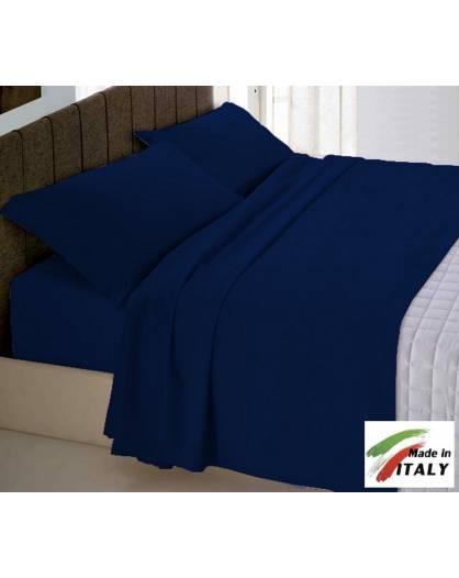 Completo Lenzuola Made In Italy 100 Cotone Tinta Unita Blu