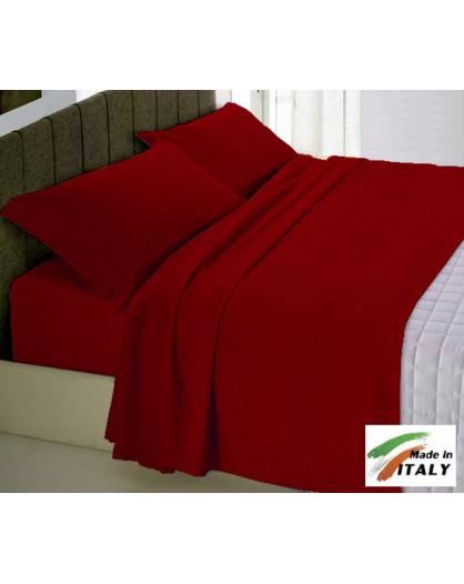 Completo Lenzuola Letto Matrimoniale Maxi Prodotto Italiano Cotone Di Percalle BORDEAUX