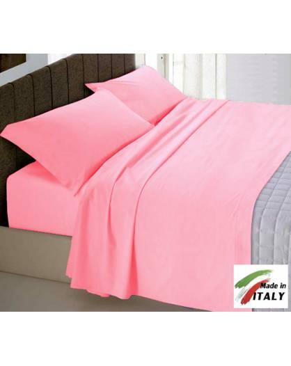 Lenzuola Matrimoniali Rosa.Completo Lenzuola Made In Italy 100 Cotone Tinta Unita Rosa
