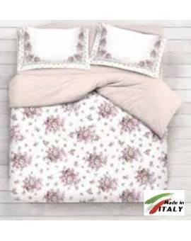 Completo Lenzuola Letto Matrimoniale Maxi Prodotto Italiano Cotone Di Percalle BOUQUET-BEIGE