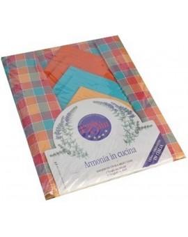 Tovaglia 140x320 pranzo cena 12 tovaglioli 100% cotone motivo scozzese
