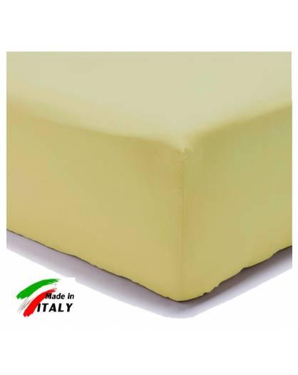 Lenzuolo Angolo con Elastici Una Piazza Prodotto Italiano Puro Cotone GIALLO
