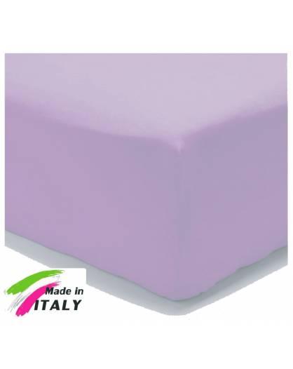 Lenzuolo Angolo con Elastici Una Piazza Prodotto Italiano Puro Cotone LILLA