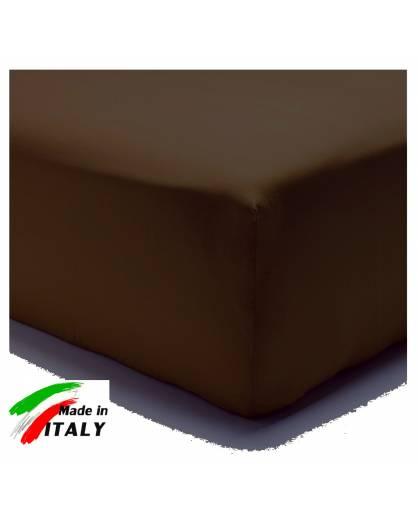 Lenzuolo Angolo con Elastici Una Piazza Prodotto Italiano Puro Cotone MORO