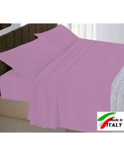 Completo Lenzuola Letto Una Piazza Percalle di Cotone Made in Italy CICLAMINO