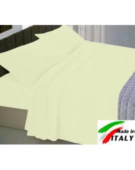 Completo Lenzuola Letto Una Piazza Percalle di Cotone Made in Italy PANNA