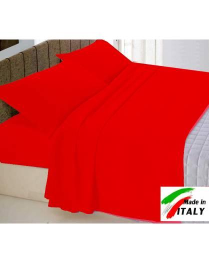 Completo Lenzuola Letto Una Piazza Percalle di Cotone Made in Italy ROSSO