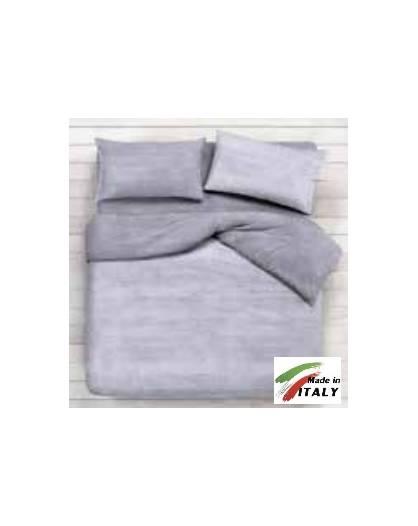 Completo Lenzuola Letto Una Piazza Percalle di Cotone Made in Italy BON-BON-GRIGIO