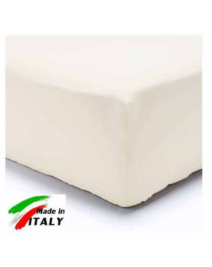 Lenzuolo Angolo con Elastici Una Piazza e Mezza Made in Italy Percalle di Cotone BIANCO