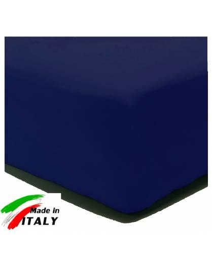 Lenzuolo Angolo con Elastici Una Piazza e Mezza Made in Italy Percalle di Cotone BLU