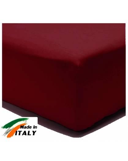 Lenzuolo Angolo con Elastici Una Piazza e Mezza Made in Italy Percalle di Cotone BORDEAUX