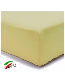 Lenzuolo Angolo con Elastici Una Piazza e Mezza Made in Italy Percalle di Cotone GIALLO