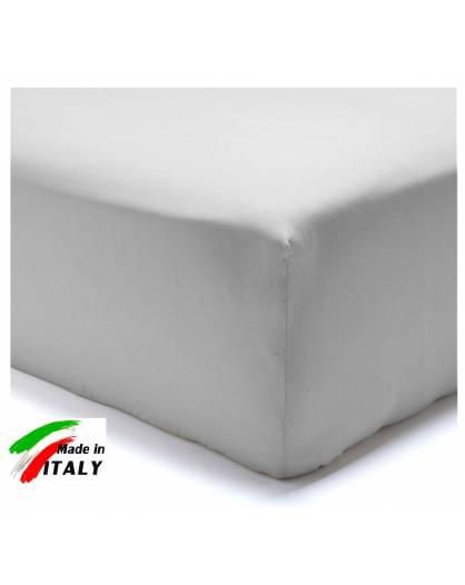Lenzuolo Angolo con Elastici Una Piazza e Mezza Made in Italy Percalle di Cotone GRIGIO