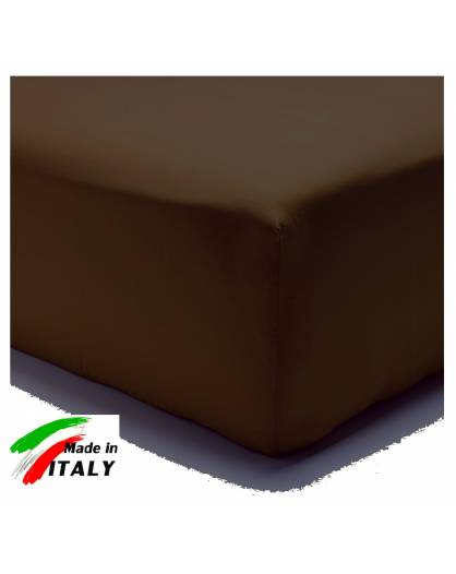 Lenzuolo Angolo con Elastici Una Piazza e Mezza Made in Italy Percalle di Cotone MORO