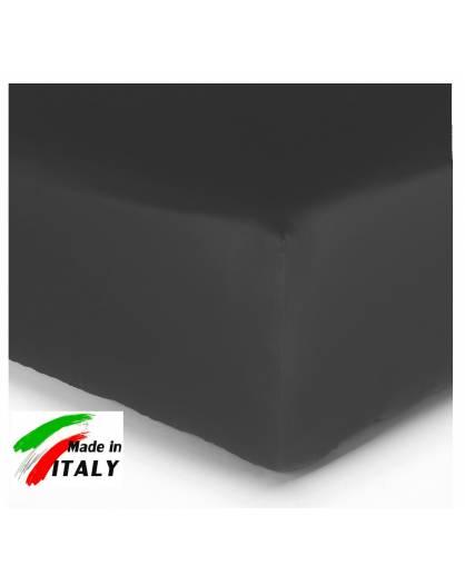 Lenzuolo Angolo con Elastici Una Piazza e Mezza Made in Italy Percalle di Cotone NERO