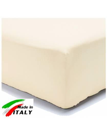 Lenzuolo Angolo con Elastici Una Piazza e Mezza Made in Italy Percalle di Cotone PANNA