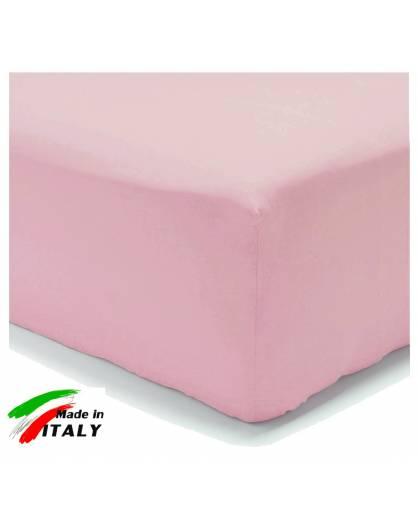 Lenzuolo Angolo con Elastici Una Piazza e Mezza Made in Italy Percalle di Cotone ROSA