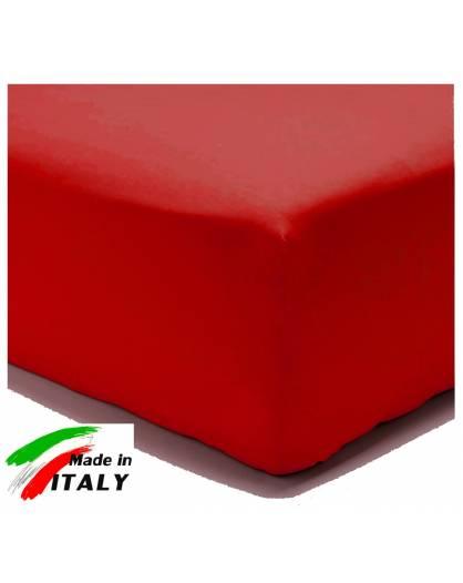Lenzuolo Angolo con Elastici Una Piazza e Mezza Made in Italy Percalle di Cotone ROSSO