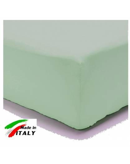 Lenzuolo Angolo con Elastici Una Piazza e Mezza Made in Italy Percalle di Cotone VERDE