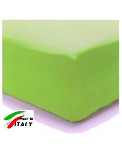 Lenzuolo Angolo con Elastici Una Piazza e Mezza Made in Italy Percalle di Cotone VERDE-ACIDO