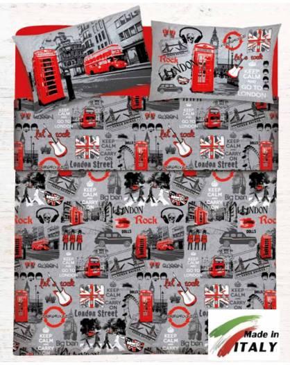 Lenzuolo Angolo con Elastici Una Piazza e Mezza Made in Italy Percalle di Cotone LONDRA