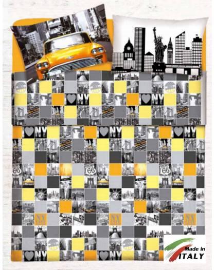 Parure Sacco Copripiumino Una Piazza e Mezza Prodotto Italiano Puro Cotone NEW-YORK